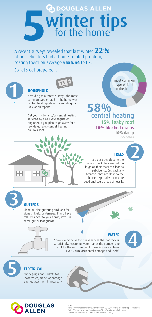 Top 5 tips for preventing repair bills over the winter period. Check your central heating, nearby trees, guttering, water supply and electrical equipment